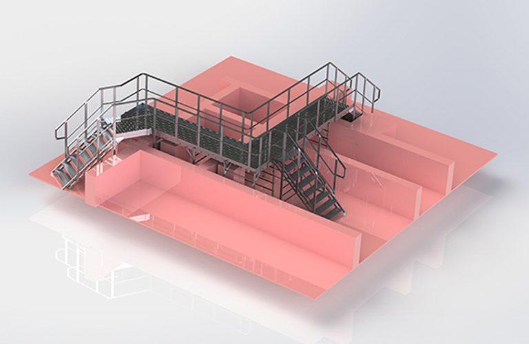 Vue 3D d'un accès en hauteur sur-mesure